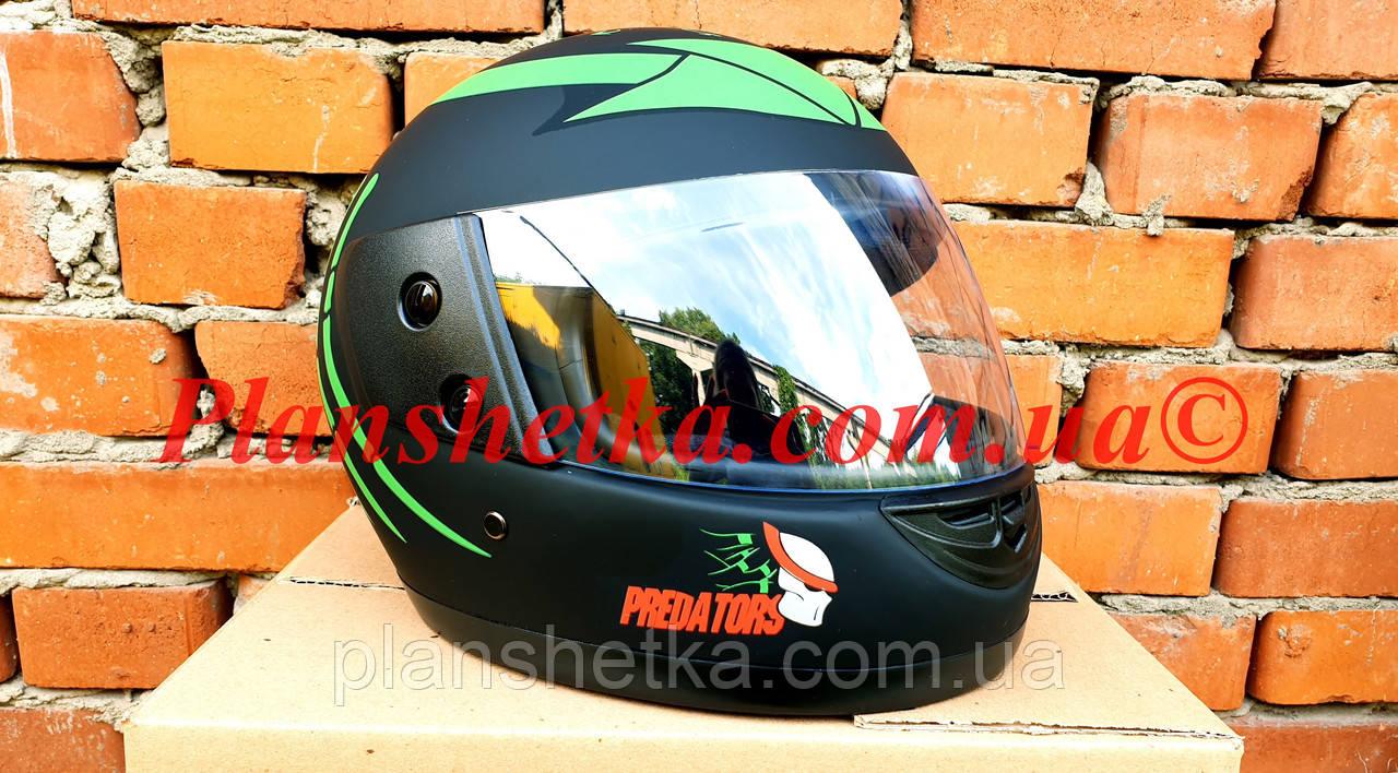 Шлем для мотоцикла Hel-Met F2-825-4 Хишник черный с зеленым мат