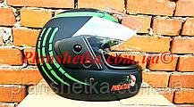 Шлем для мотоцикла Hel-Met F2-825-4 Хишник черный с зеленым мат, фото 2