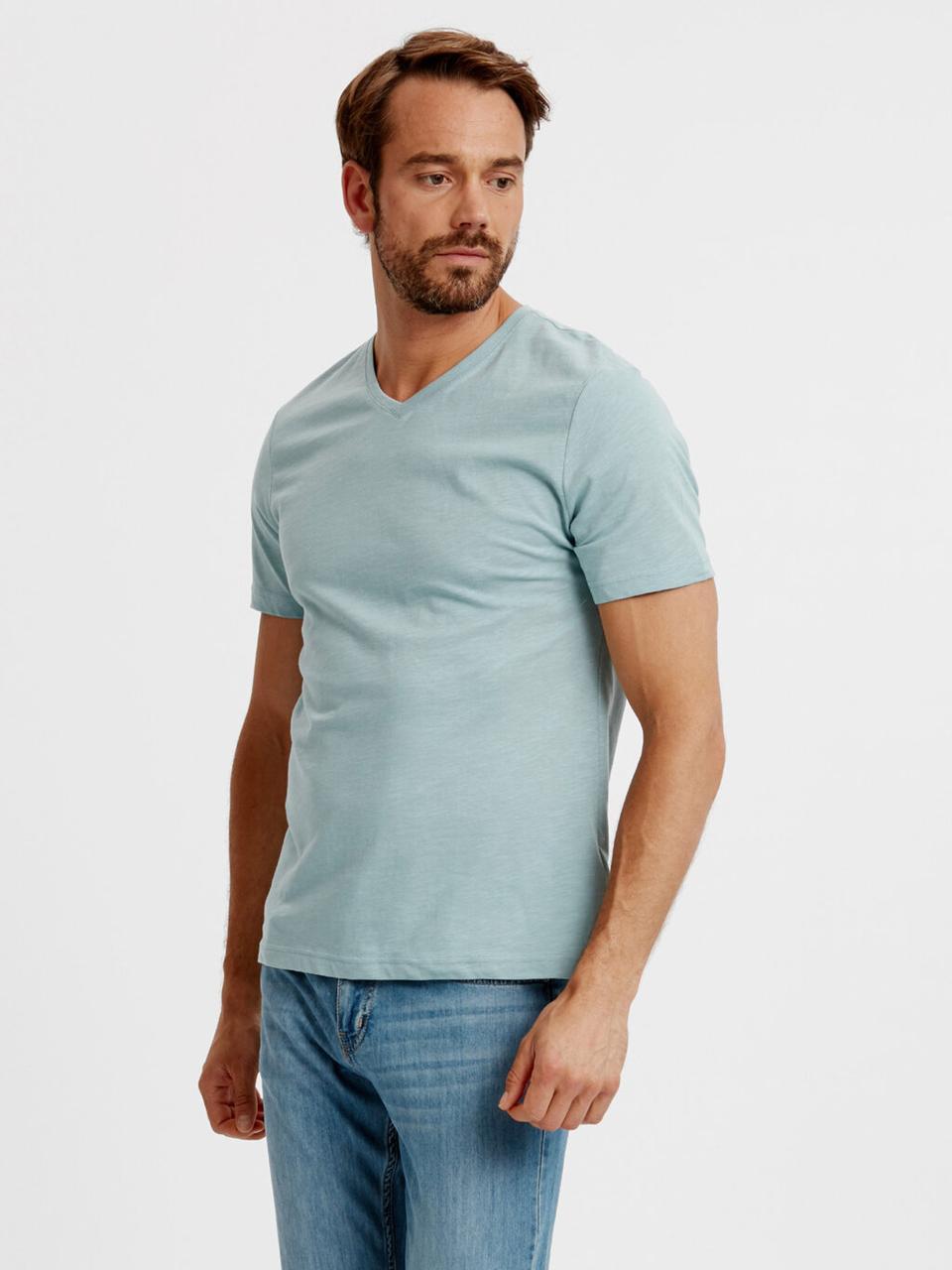 Голубая мужская футболка LC Waikiki / ЛС Вайкики с V- образным вырезом
