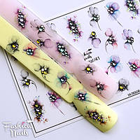 Декор для ногтей со стразами Fashion Nails водные наклейки 3D слайдер-дизайн Цветы со стразами Хрустальные