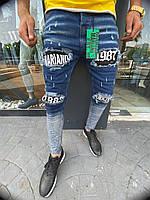 """Молодежные мужские джинсовые штаны с надписями """"Mariano1987"""" синие потертые - 30, 31, 32, 33, 34, 36"""