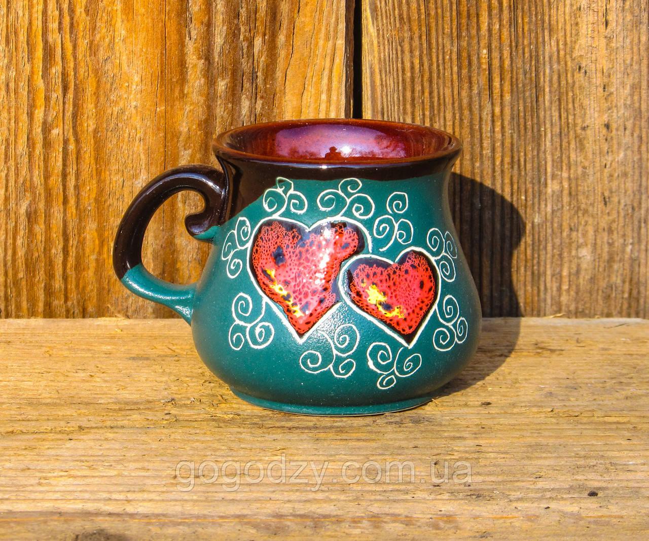 Горнятко кавове 100 мл декор Серце зелене