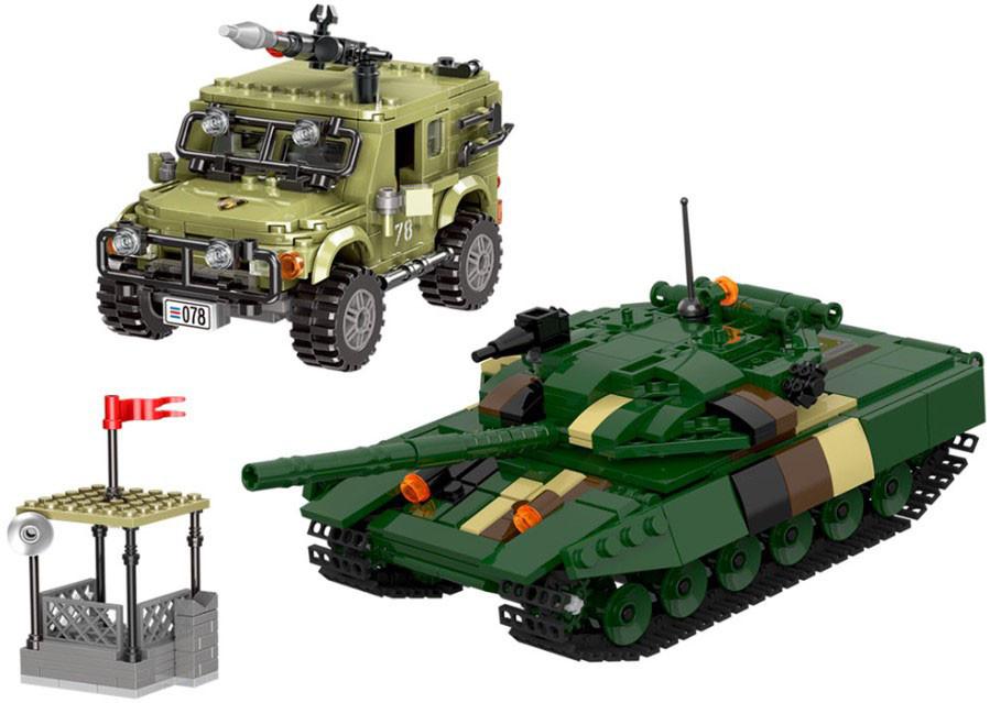 Конструктор LimoToy KB 016 «Военный танк и автомобиль» 999 деталей