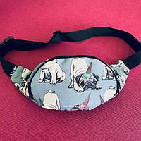 Поясная сумка - бананка Dog с принтом мопса для подростка | женская