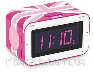 """Радиоприемник с будильником """"Британский флаг"""", розовый"""
