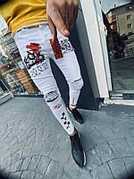 """Штаны мужские летние джинсовые """"Роза"""" белые коттоновые"""