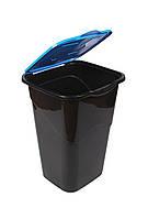 Ведро для мусора с крышкой черное 50л, Heidrun RECYCLING, 40*36,5*53,5см (HDR-1433)