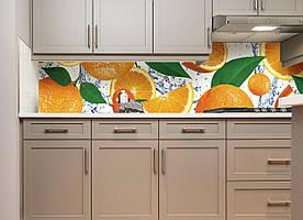 """Скинали на кухню Zatarga """" Апельсиновый рай"""" 600х2500 мм оранжевый виниловая 3Д наклейка кухонный фартук"""