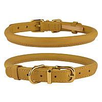 Ошейник для собак круглый кожаный BronzeDog Premium Crazy горчичный M