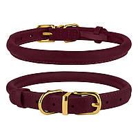 Ошейник для собак круглый кожаный BronzeDog Premium Crazy бордовый XS