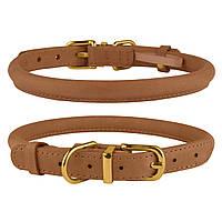 Ошейник для собак круглый кожаный BronzeDog Premium Crazy светло-коричневый S