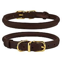 Ошейник для собак круглый кожаный BronzeDog Premium Crazy темно-коричневый XS