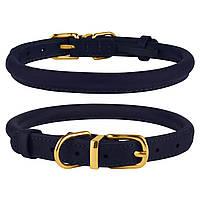 Ошейник для собак круглый кожаный BronzeDog Premium Crazy темно-синий M