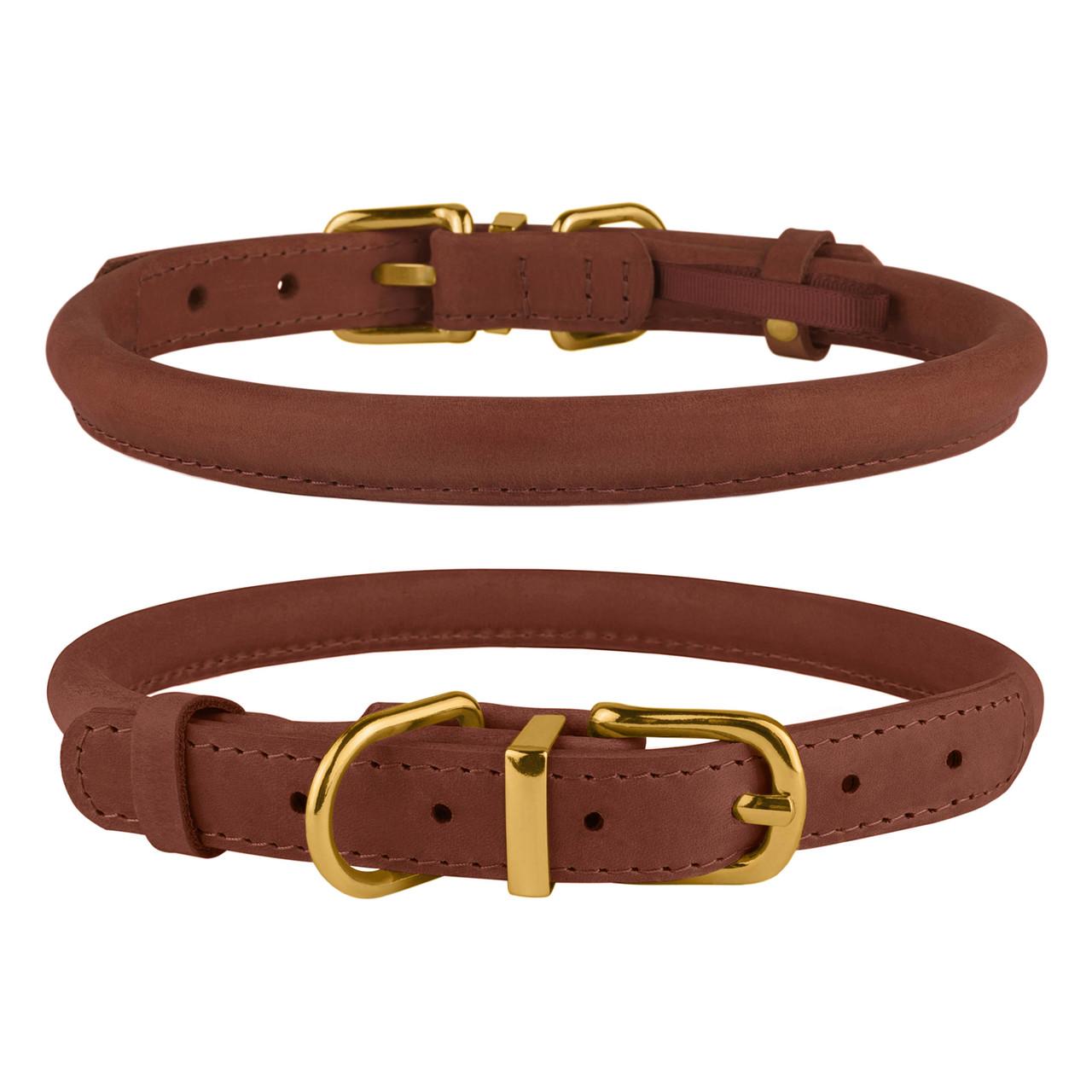 Ошейник для собак круглый кожаный BronzeDog Premium Crazy коньячный S