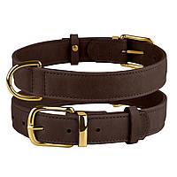 Ошейник для собак кожаный BronzeDog Crazy темно-коричневый L