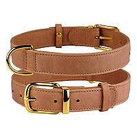 Ошейник для собак кожаный BronzeDog Crazy коричневый XS