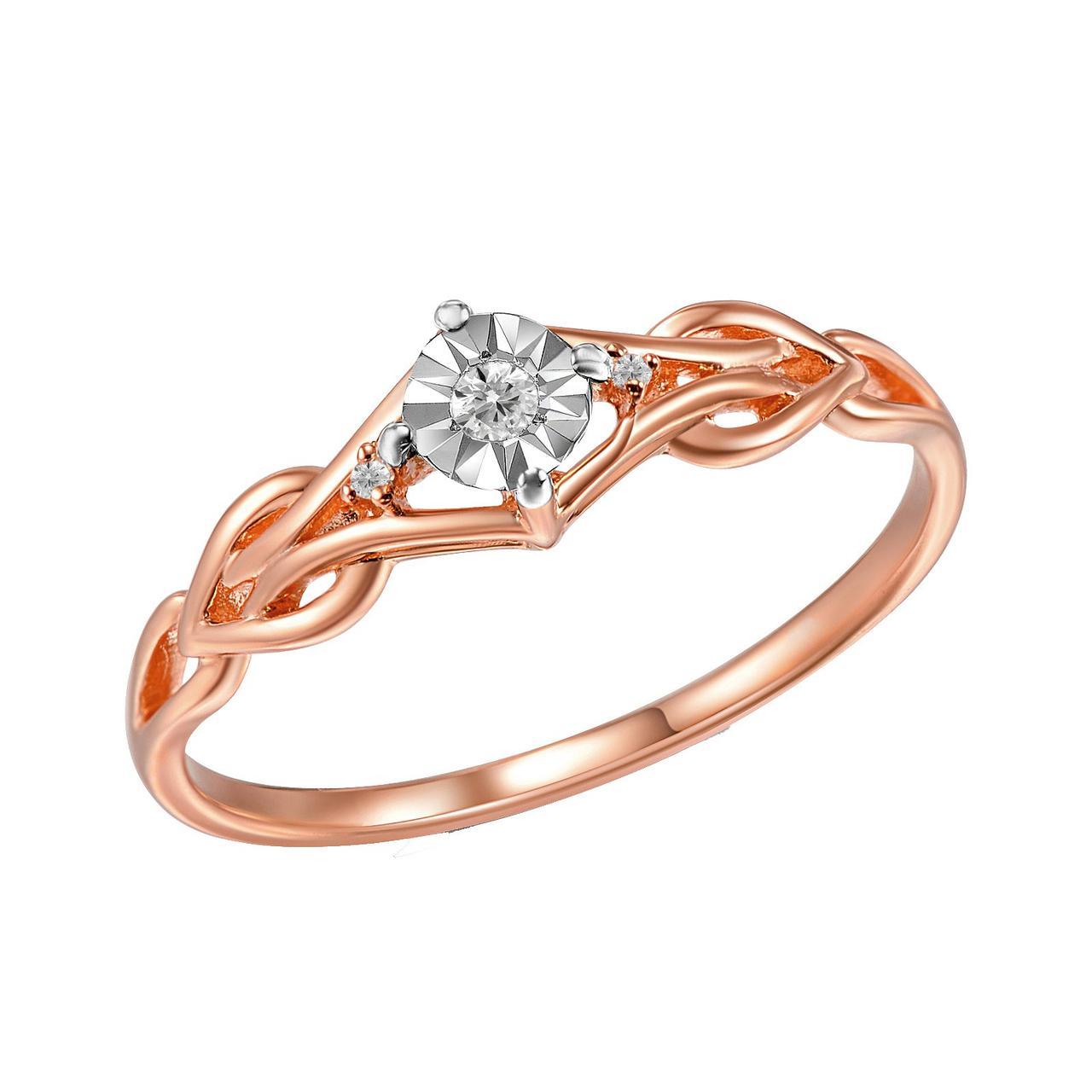 Золотое кольцо с бриллиантами, размер 17 (1668037)