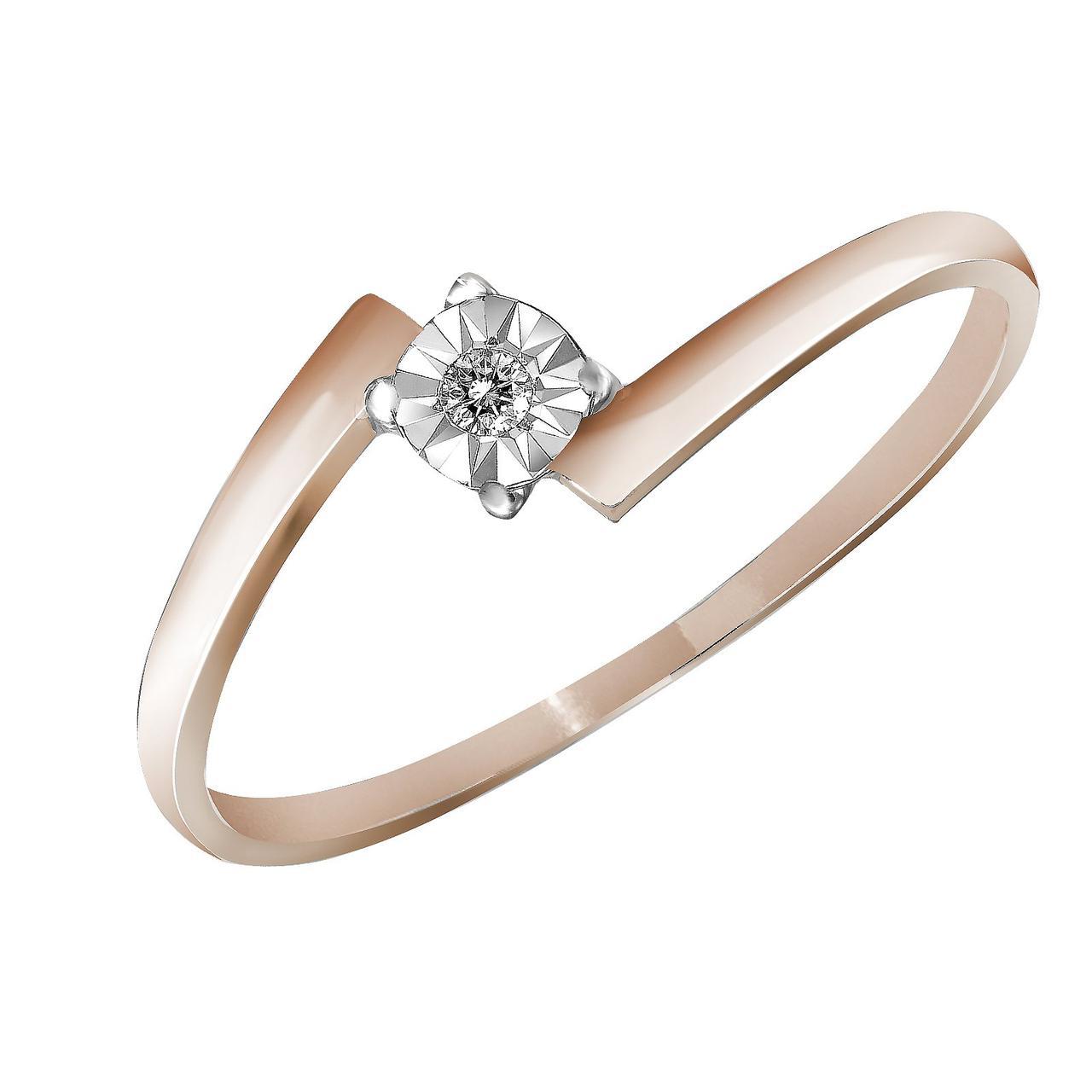 Золотое кольцо с бриллиантом, размер 16.5 (019401)
