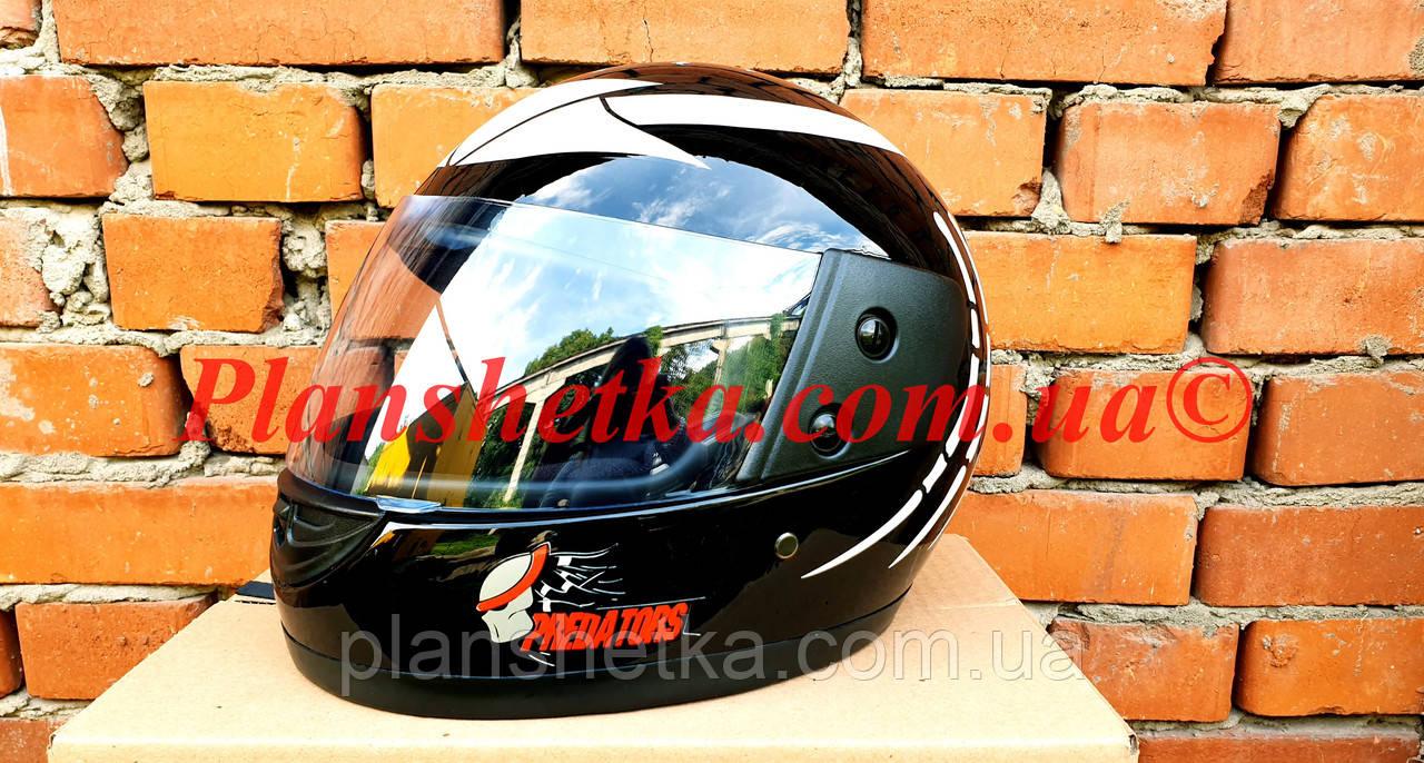 Шолом для мотоцикла Hel-Met F2-825-4 Хишник чорний з білим глянець
