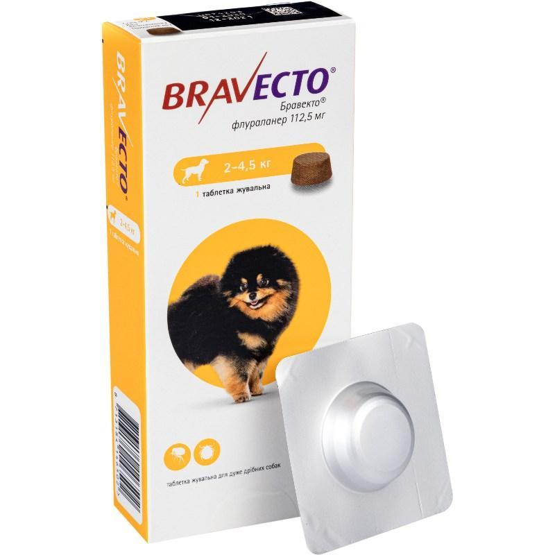 Таблетка Bravecto от блох и клещей для собак 2- 4,5 кг