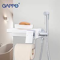 Гігієнічний душ з паперотримач білий (кварц) / хром Gappo Chanel G7296