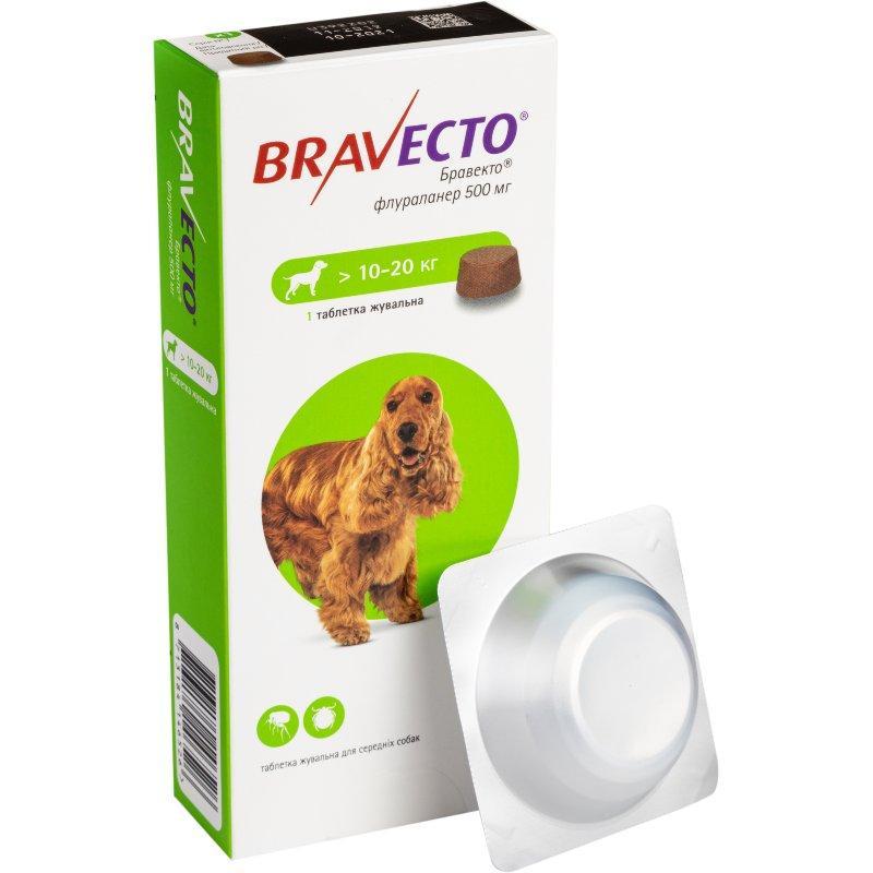 Таблетка Bravecto от блох и клещей для собак 10-20 кг