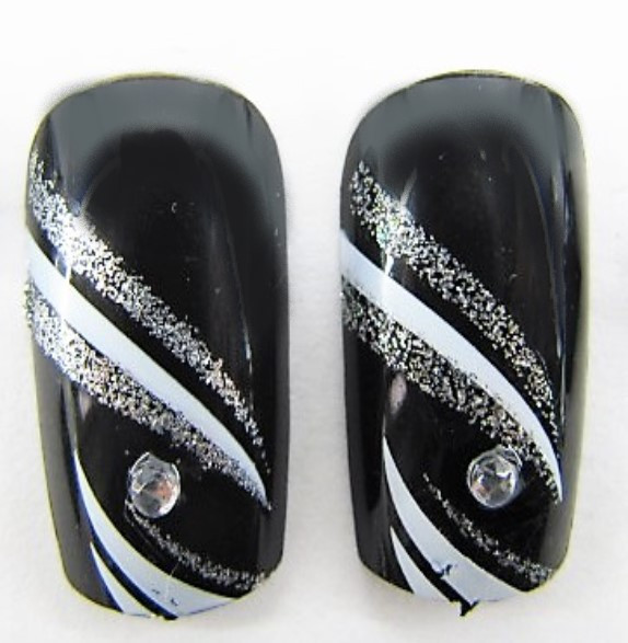 Ногти накладные в пакете, 12 шт с рисунком абстракция и клейкой основой