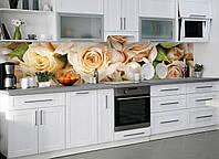 Виниловый кухонный фартук Роза беж виниловый самоклеющийся цветы розы ПВХ наклейка пленка скинали для кухни 600*2500 мм