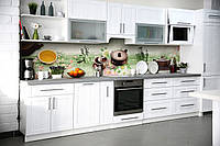 Виниловый кухонный фартук самоклеющийся Чай и Сакура (скинали для кухни наклейка ПВХ) Восточные символы