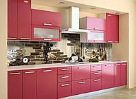 Виниловый кухонный фартук самоклеющийся Lion Coffee 02 (скинали для кухни наклейка ПВХ) кофе чашка кирпичи 600*2500 мм