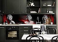 Виниловый кухонный фартук самоклеющийся Мерлин Монро (скинали для кухни наклейка ПВХ) девушка люди черный 600*2500 мм, фото 1