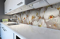 Виниловый кухонный фартук Орхидеи и капли росы 02 (скинали для кухни наклейка ПВХ) бежевый 600*2500 мм