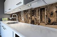 Виниловый кухонный фартук самоклеющийся Прованс Сепия (скинали для кухни наклейка ПВХ) улицы дома брусчатка 600*2500 мм, фото 1