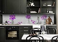 Виниловый кухонный фартук самоклеющийся Лепестки Роз (скинали для кухни наклейка ПВХ) фиолетовые цветы букет 600*2500 мм, фото 1