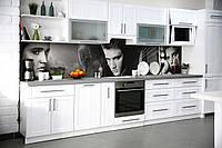 Виниловый кухонный фартук самоклеющийся Элвис Пресли (скинали для кухни наклейка ПВХ) ретро певцы серый 600*2500 мм