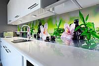 Виниловый кухонный фартук самоклеющийся Орхидея и Бамбук 02 (скинали для кухни наклейка ПВХ) черные камни