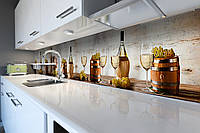 Виниловый кухонный фартук самоклеющийся Белое вино (скинали для кухни наклейка ПВХ) виноград бочки бежевый