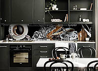 Виниловый кухонный фартук самоклеющийся Черный Кофе (скинали для кухни наклейка ПВХ) чашка Coffee абстракция