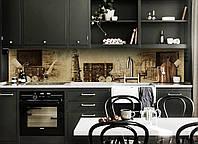 Виниловый кухонный фартук самоклеющийся Маяк и Чемодан (скинали для кухни наклейка ПВХ) ретро море винтаж 600*2500 мм, фото 1