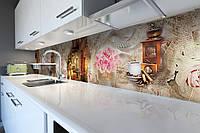 Виниловый кухонный фартук самоклеющийся Вечерняя прогулка (скинали для кухни наклейка ПВХ) ретро винтаж розы 600*2500 мм