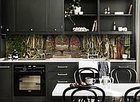 Виниловый кухонный фартук самоклеющийся Старый Фонтан (скинали для кухни наклейка ПВХ) деревья корни ретро 600*2500 мм