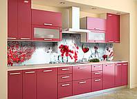 Виниловый кухонный фартук самоклеющийся Зимнее настроение 02 (скинали наклейка ПВХ) вино снег красные ягоды 600*2500 мм, фото 1