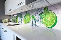 Виниловый кухонный фартук самоклеющийся Лайм 02 (скинали для кухни наклейка ПВХ) цитрусы лед мята зеленый 600*2500 мм
