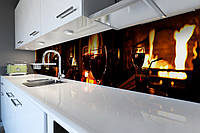 Виниловый кухонный фартук самоклеющийся Бокалы (скинали для кухни наклейка ПВХ) огонь вечер коричневый 600*2500 мм, фото 1