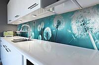Виниловый кухонный фартук самоклеющийся Бирюзовые Одуванчики (скинали для кухни наклейка ПВХ) цветы голубой 600*2500 мм, фото 1