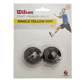 Сквош мяч WILSON (2шт) (медленный мяч, 1 желтая точка) WRT617800