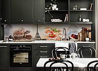 Виниловый кухонный фартук самоклеющийся Сладости в Париже 02 (скинали для кухни наклейка ПВХ) 600*2500 мм