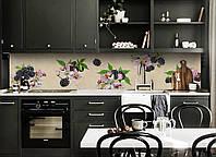 Виниловый кухонный фартук самоклеющийся Ежевика синие ягоды (скинали для кухни наклейка ПВХ) бежевый 600*2500 мм, фото 1