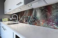 Виниловый кухонный фартук самоклеющийся Лес Солнечные лучи (скинали для кухни наклейка ПВХ) деревья зеленый 600*2500 мм, фото 1