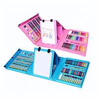 Детский художественный набор для рисования 208 предметов в удобном кейсе с ручкой c мольберт уценка
